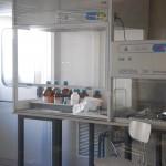 Cappa chimica e cappa a flusso laminare all'interno della camera depolverizzata